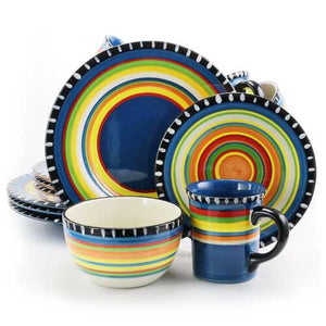 Gibson Home Pueblo Springs Spanish Festival 16 Piece Durastone Dinnerware Set in Cobalt, Sevice for 4