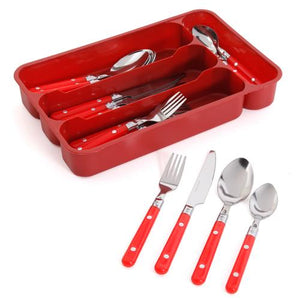 Gibson Casual Living 24 Piece Stainless Steel Flatware Set with Storage Tray in Red