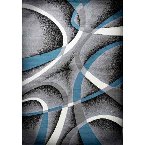 Katelynn Gray/Blue/White Area Rug 3 ft. by 5 ft.