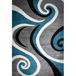 Blacksmith Swish Blue/Gray Area Rug 8 ft. by 10 ft.