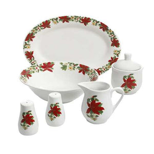 Perfect for Holidays Poinsettia 7 Piece Porcelain Serving Set in Red