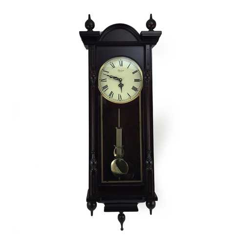 Bedford Clock Collection Grand 31 Inch Chiming Pendulum Wall Clock in Antique Mahogany Cherry Finish