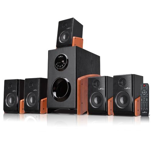 beFree Sound 5.1 Channel Bluetooth Surround Sound Speaker System in Wood