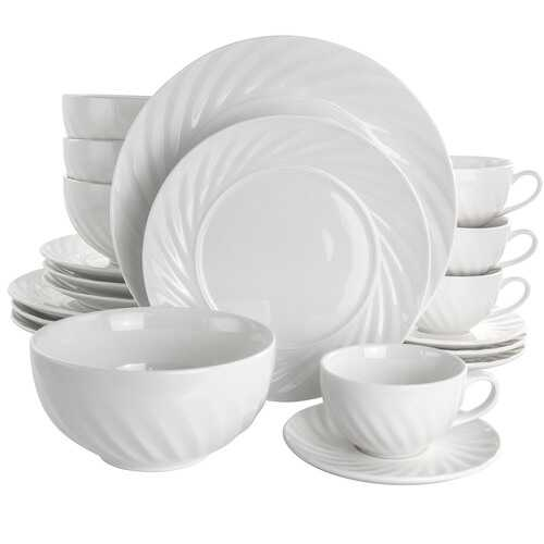 Elama Deluxe Clancy 20 Piece Porcelain Dinnerware Set in White