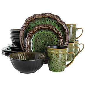 Elama Jade Waves 16 Piece Stoneware Dinnerware Set in Green