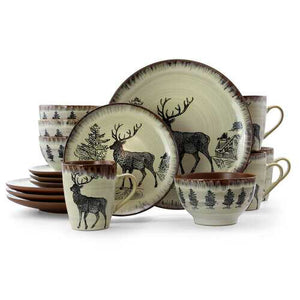 Elama Majestic Elk 16 Piece Luxurious Stoneware Dinnerware with Complete Setting for 4