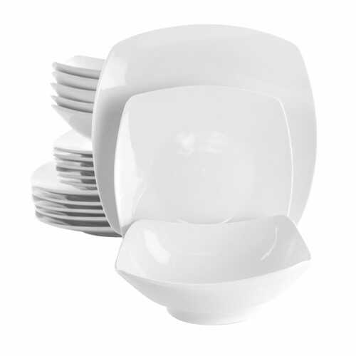 Elama Newman 18 Piece Square Porcelain Dinnerware Set in White