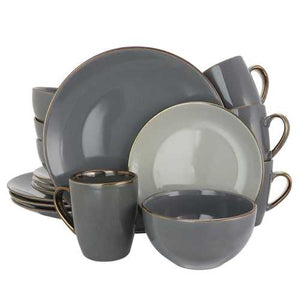 Elama Tahitian Grand 16 Piece Stoneware Dinnerware Set in Gray
