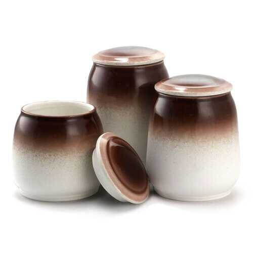 Elama 3 Piece Ceramic Kitchen Canister Collection in Toasted Coconut