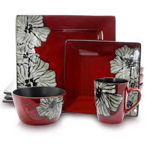 Elama Winter Bloom 16 Piece Square Stoneware Dinnerware Set
