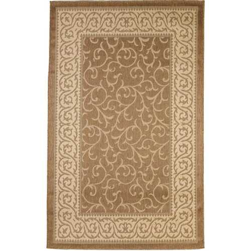 Leaves Border Design Indoor/Outdoor Gold Area Rug