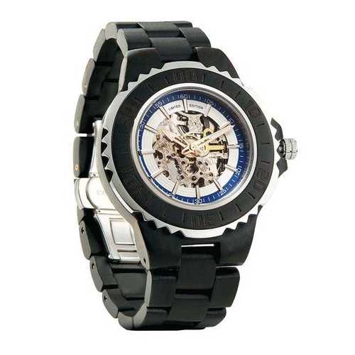 Men Genuine Automatic Ebony Wooden Watches No Battery Needed
