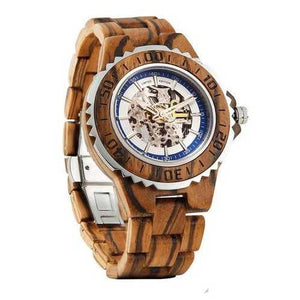 Men Genuine Automatic Zebra Wooden Watches No Battery Needed