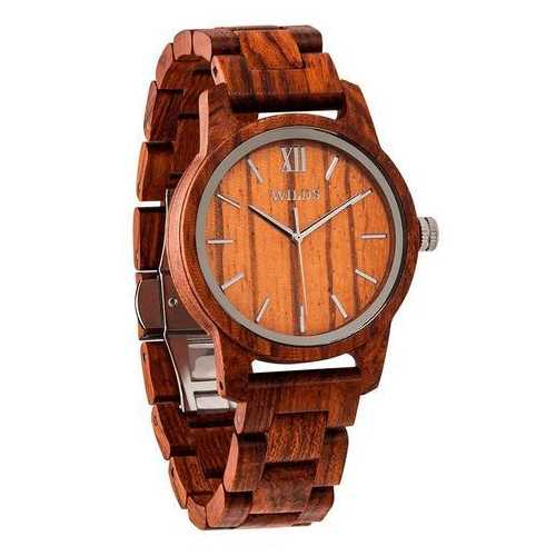 Men Handmade Engraved Kosso Wooden Timepiece - Personal Message on the Watch