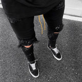 UEFEZO Men Summer Destroyed Ripped Jeans Hip-hop High Street Broken Hole Skinny Biker Slim Jeans Vintage Stretchy Pants Homme