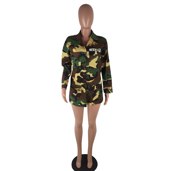 Echoine Loose Camouflage Coat Turn-Down Collar Pocket Women  Long Sleeve Button Up Casual Army Green Military Outwear Jacket