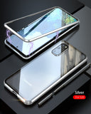 Luxury Magnetic Adsorption Back Cover for Samsung Galaxy S20 Ultra S20 Plus Tempered Glass Built-in Magnet Metal Bumper Case
