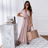 Polka dot Women's Dress V-neck Summer Wrap Dresses For Women Casual Front Split female Long Dress Office Ladies Vestidos D25