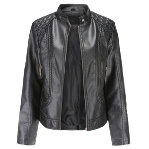 Autumn Faux Soft Leather Pu Jacket Women Loose Punk Coat Female Turndown Collar Moto Biker Rivet Zipper Street Overcoat