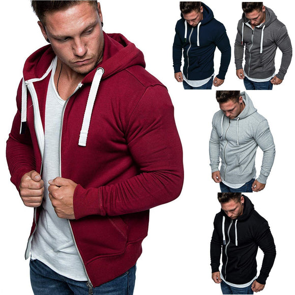 HEFLASHOR New Fashion Men's Sweatshirts Solid Slim Fit Sportswear Male Hoodies Long Sleeve Casual Hooded Zipper Hoodie Men