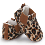 Newborn baby boy girl infant Leather lace Leopard shoes first walker