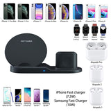 3 in 1 10W Fast Wireless Charger Dock Station Fast Charging For iPhone XR XS Max 8 for Apple Watch 3 4 5 For AirPods For Samsung