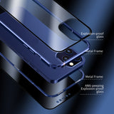 Anti-Peeping Full Body Case Clear Tempered Glass Metal Bumper Protection Privacy Cover For Iphone 12/12Mini/Pro/Pro Max