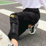 Women Fashion Streetwear Cargo Pants Black Ankle Length Elastic Waist Joggers Female Loose Trousers Casual Haren Running Pants