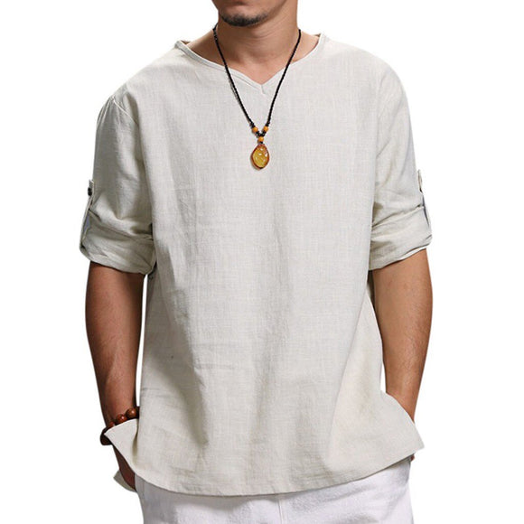 Men's Summer New Pure Cotton And Hemp Top Comfortable Fashion Blouse Top Casual Beach Top Summer Vacation Clothes #GM