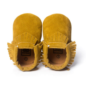 Suede Leather Newborn Baby Moccasins Shoes Soft Soled Non-slip Crib First Walker