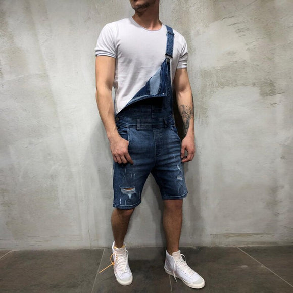 2020 New Mens Short Jeans Jumpsuits Hole Hip Hop Ripped Distressed Denim Overalls Knee Length Suspender Cowboy Pants Streetwear