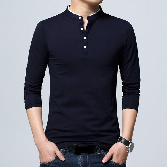 Men Long Sleeve Cotton T Shirt Stand Collar