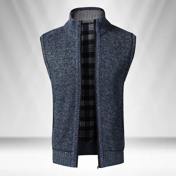 UEFEZO 2020 Autumn Winter Men Sweater Coat Warm Sleeveless Zipper Cardigan Men Knitted Vest Sweatercoat Casual Plaid Knitwear