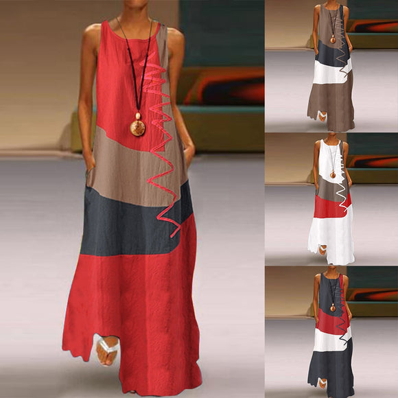 2020 Vintage Color Stitching Maxi Dress Women's Summer Sundress Casual Sleeveless Tank Vestidos Female O Neck Robe Femme