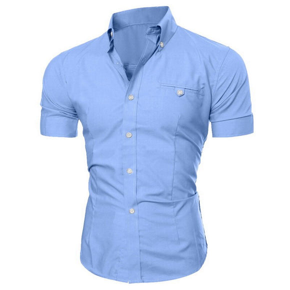 Mens Short Sleeve Shirt 2020 New Summer Fashion Sexy V-Neck Solid Color Buttons Blouse Casual Breatnable Comfortable Tee Tops