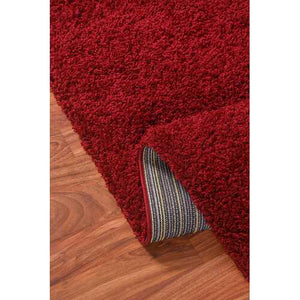 Solid Shag Collection Modern Plush Red Shag Area Rug 8 ft. by 10 ft.