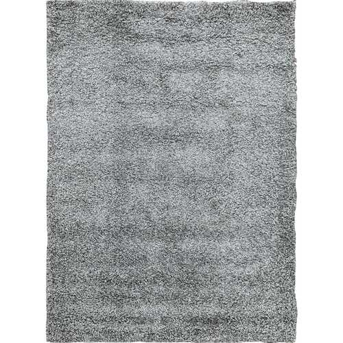 Solid Shag Collection Modern Plush Grey Shag Area Rug 5 ft. by 7 ft.