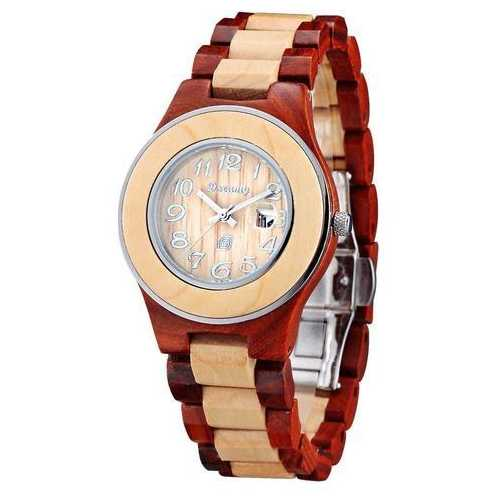 Women Natural Maple & Rosewood Wooden Watch - She Deserve It