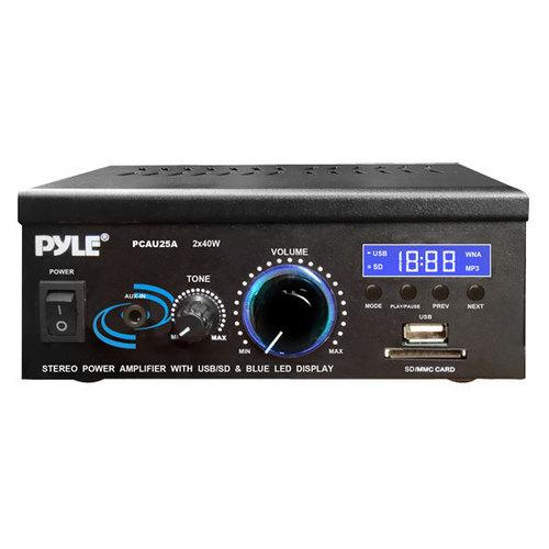 Stereo Power Amplifier System - Digital Audio Speaker Amp with MP3/AUX/USB/SD Readers, LED Display, 2 x 40 Watt