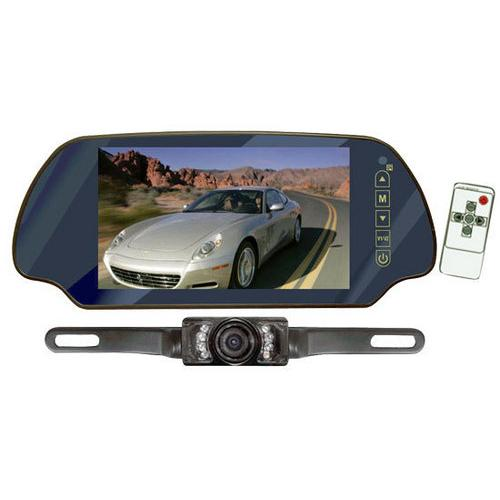 Backup Camera & Rearview Monitor Parking Assist System, Waterproof Night Vision Cam, 7'' LCD Display Built-into Mirror Assembly, Distance Scale Lines, Swivel Angle Adjustable Cam