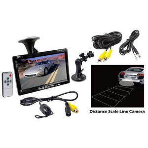Rear View Backup Camera and Monitor System with 7'' LCD Display Screen, Waterproof Night Vision Camera, Distance Scale Lines, Parking/Reverse Assist