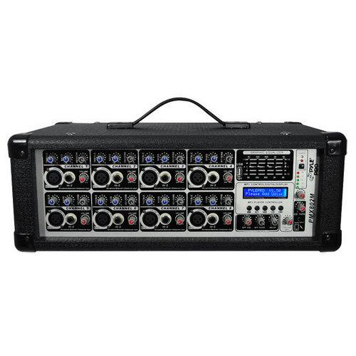 8-Channel 800 Watt Powered Mixer, AUX (3.5mm) Input, SD Memory Card & USB Flash Drive Readers, LCD Display, Headphone Jack