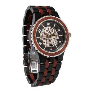 Men Premium Self-Winding Transparent Body Ebony Rosewood Watches