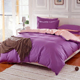 Cotton Purple Pink Color Assorted Plain Bedding Set
