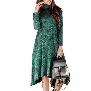 Casual High Collar Long Sleeve Dress