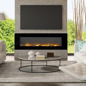 Wall-mounted Electric Fireplace With Thermostat And Timer Control 3 Flame Colors (60X5X18.35 Inches)