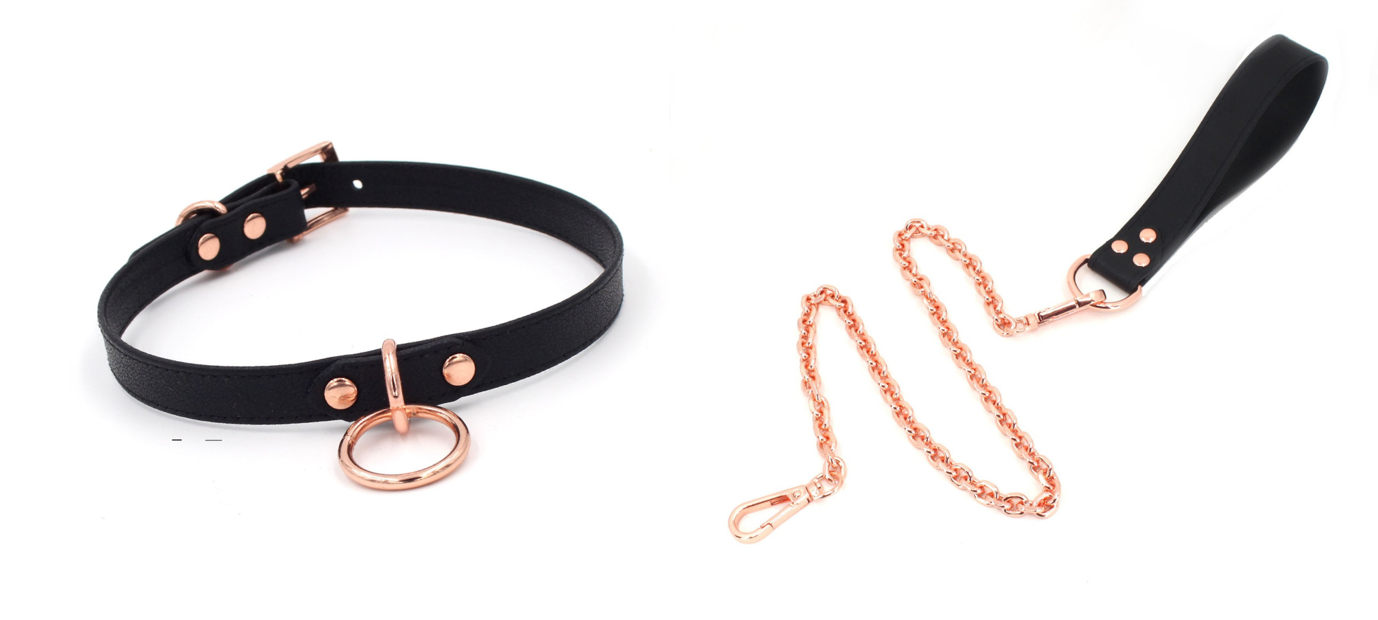 rose gold leash and collar restraint bdsm role play