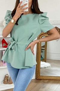 Fashion Clothing Short Sleeve Bow Bandage Womens Tops and Blouses Summer Solid Color Puff Sleeve Women Tops Summer Shirt 2020