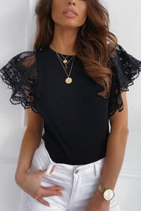 Fashion Solid Color Black and White Lace Roun Neck Women Blouse Butterfly Sleeve Short Sleeve Women Blouse Sexy Tops and Shirt