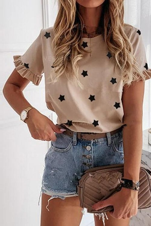 Fashion Solid Color Strar Printed Roun Neck Women Short Sleeve Tshirt Women Summer Sexy Tops and Shirt